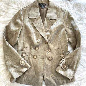 Etcetera Gold Linen Metallic Double Breast Blazer